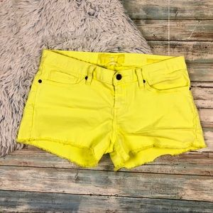 Lucky Brand Riley Cut Off Yellow Shorts